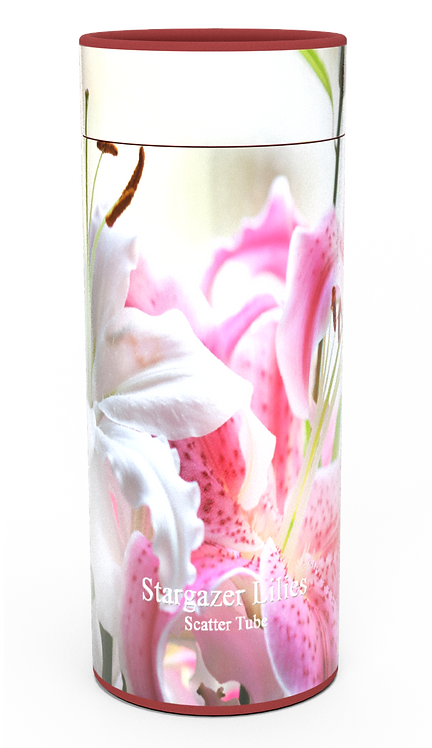 Personalised Custom Bespoke Ashes Scattering Tube Urn for Cremated Remains in Floral PINK LILIES design