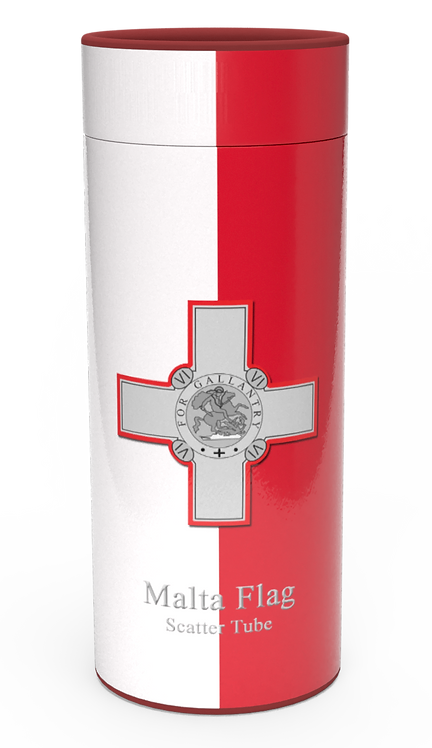 Personalised Custom Bespoke Ashes Scattering Tube Urn for Cremated Remains in Flag MALTA design