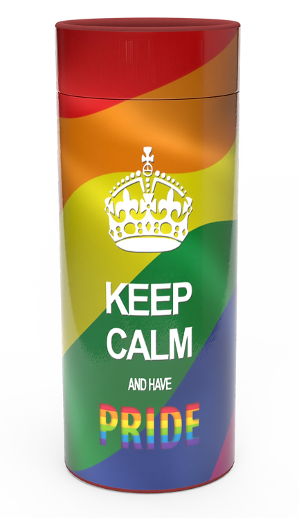 Personalised Custom Bespoke Ashes Scattering Tube Urn for Cremated Remains in a Hobby Interest KEEP CALM PRIDE LGBQI design