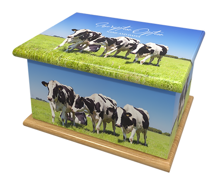 Personalised Cremation Ashes Casket Urn COWS FARM