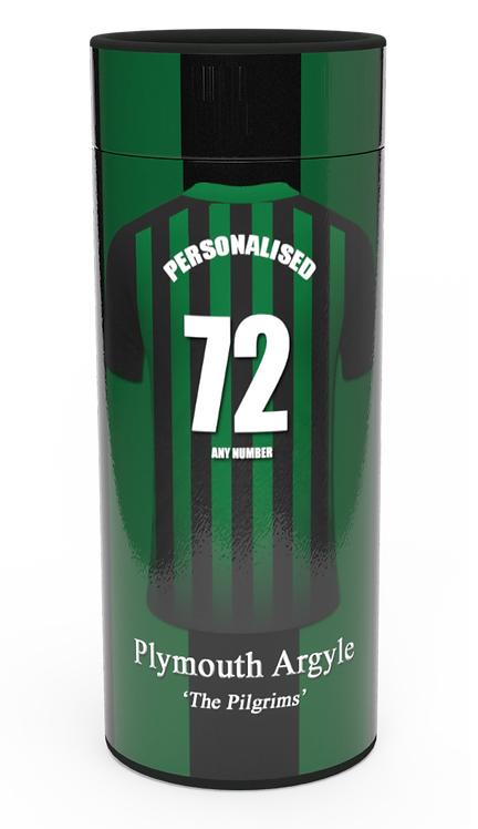 Personalised Custom Bespoke Ashes Scattering Tube Urn for Cremated Remains in a Football Soccer sport PLYMOUTHdesign