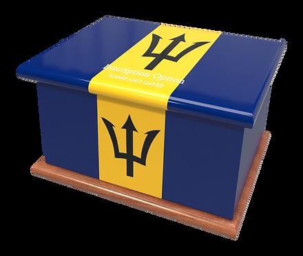 Custom Personalised Cremation Ashes Casket Urn BARBADOS FLAG