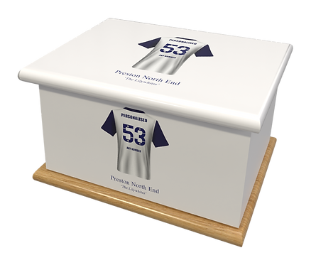 Custom Personalised Cremation Ashes Casket urn FOOTBALL TEAM PRESTON NORTH END