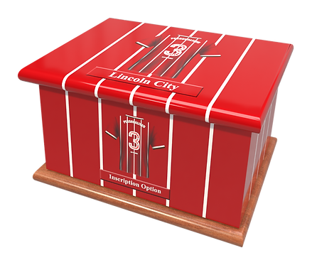 Custom Personalised Cremation Ashes Casket Urn FOOTBALL TEAM LINCOLN CITY FC