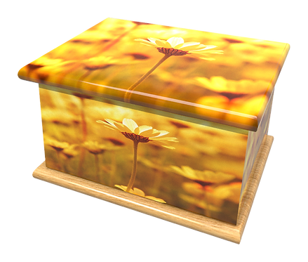 Custom Personalised Cremation Ashes Casket in FLORAL FIELDS OF GOLD design