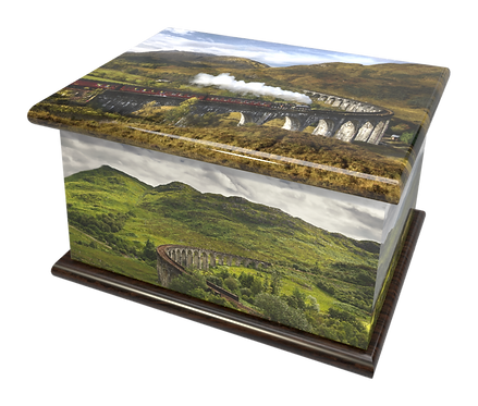 Custom Personalised Cremation Ashes Casket GLENFIINNAN VIADUCT SCOTLAND