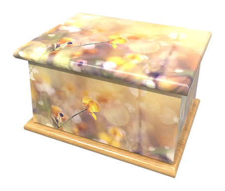 Custom Personalised Cremation Ashes Casket in FLORAL BUTTERCUPS design