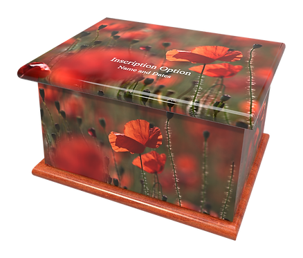 Custom Personalised Cremation Ashes Casket Urn POPPIES RED POPPY FIELD