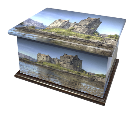 Scottish Caste design PEROSNALISED CUSTOM Cremation Ashes Caskets, Urns and Keep-Sakes