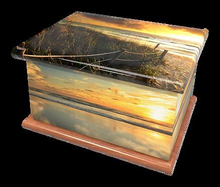 Custom Personalised Cremation Ashes Casket Urn COAST BEACH SCENIC SUNSET