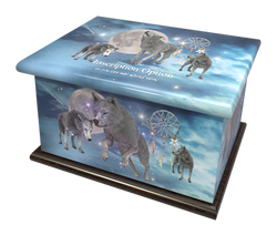 Ashes Casket SPIRIT WOLVES (STAINED MAHO