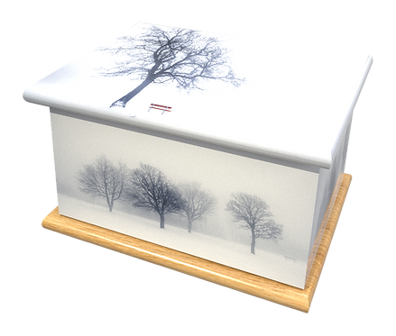 Personalised Custom Cremation Ashes Caskets and Keep-Sake Urns in a SNOW WINTER Landscape design