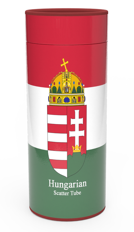 Personalised Custom Bespoke Ashes Scattering Tube Urn for Cremated Remains in four sizes HUNGRY HUNGARIAN FLAG
