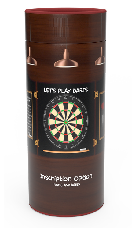 Custom Personalised Funeral Cremation Ashes Casket Urn Hobby Sport Interest LETS PLAY DARTS