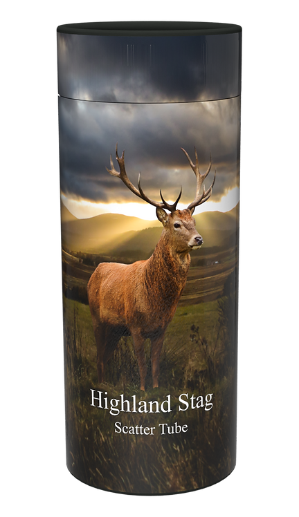 Custom Personalised Cremation Ashes Casket urn Scatter Tube HIGHLAND SCOTTISH STAG