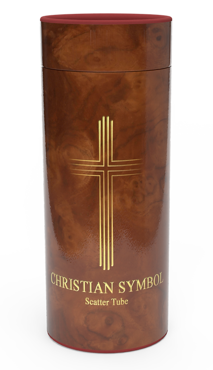 Personalised Custom Bespoke Ashes Scattering Tube Urn for Cremated Remains in a Religious Spiritual Faith design