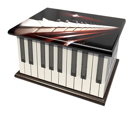 Personalised Custon Cremation Ashes Casket and Keep-Sake in PIANO MUSIC ORGANdesign