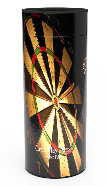 Personalised Custom Bespoke Ashes Scattering Tube Urn for Cremated Remains in a Hobby Interest DARTS design