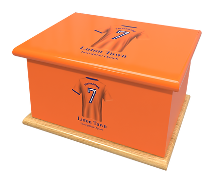 Custom Personalised Cremation Ashes casket urn FOOTBALL TEAM LUTON TOWN FC