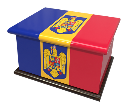 Custom Personalised Ashes Casket in a ROMANIAN FLAG design