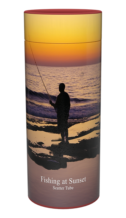 Custom Personalised Cremation Ashes Casket Urn FISHING ANGLING SUNSET