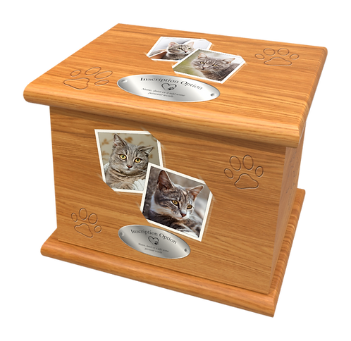 Custom Personalised PET Animal Cat Dog Ashes Casket Urn In Wood Design