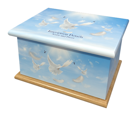 Custom Personalised Cremation Ashes Casket Urn RELIGIOUS DOVES AND FEATHERS