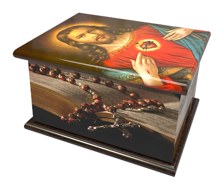 Personalised Custom Cremation Ashes Caskets and Keep-Sake Urns in a Spiritual Relgious CATHOLIC SACRED HEARTdesign