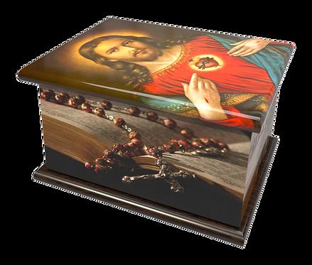 Custom Personalised Cremation Ashes Casket RELIGIOUS SPIRITUAL FAITH CATHOLIC SACRED HEART