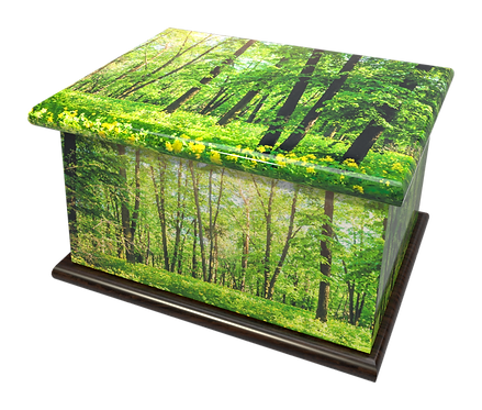 Custom Personalised Bespoke Cremation Ashes Casket GREEN FOREST