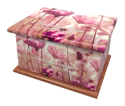 Custom Personalised Cremation Ashes Casket Urn PURPLE FLOWER BUTTERCUP
