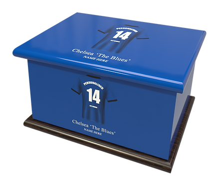 Custom Personalised Cremation Ashes Casket Urn FOOTBALL TEAM CHELSEA THE BLUES