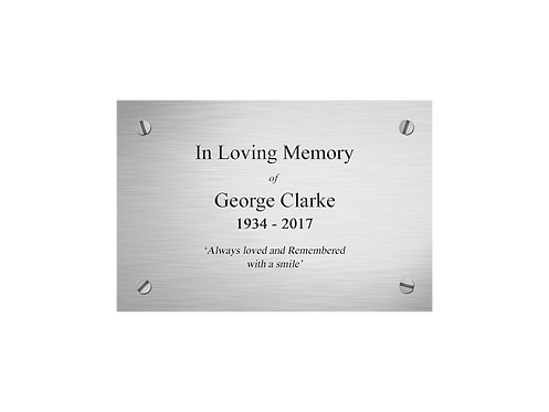 Personalised Coffin and Casket Nickel Effect Nameplates with a choice of Motif