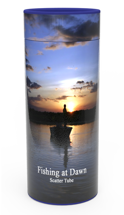 Custom Personalised Funeral Cremation Ashes Casket Urn Hobby Sport Interest FISHING AT DAWN