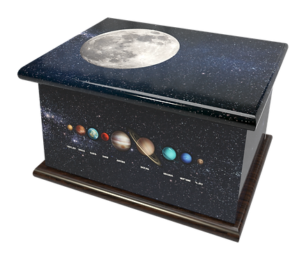 Custom Personalised Bespoke Cremation Ashes Casket SOLAR SYSTEM