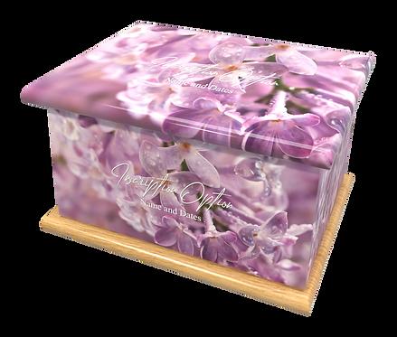 Custom Personalised Cremation Ashes Casket Urn LILAC BLOOM FLOWER
