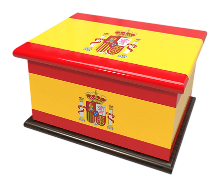 Personalised Custom Cremation Ashes Caskets COUNTRY AND BRITISH COUNTY FLAGS SPAIN SPANISH