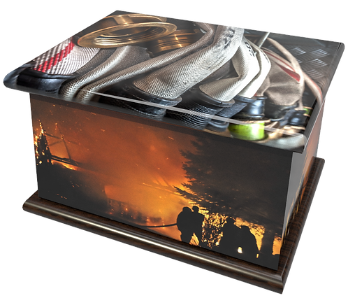 Personalised Custom Cremation Ashes Caskets and Keep-Sake Urns in a FIRE SERVICE BRIGADEdesignign