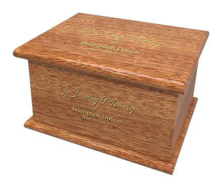 Personalised Custom GABON Wood Effect Cremation Ashes Casket