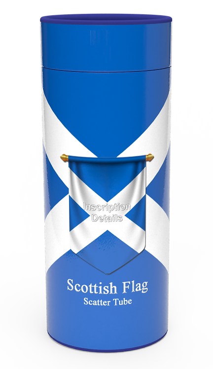 Personalised Custom Bespoke Ashes Scattering Tube Urn for Cremated Remains in four sizes SCOTLAND ST.ANDREW SCOTTISH FLAG