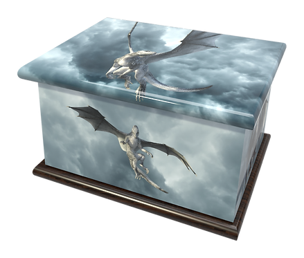 Personalised Custon Cremation Ashes Casket and Keep-Sake in FLYING DRAGON design