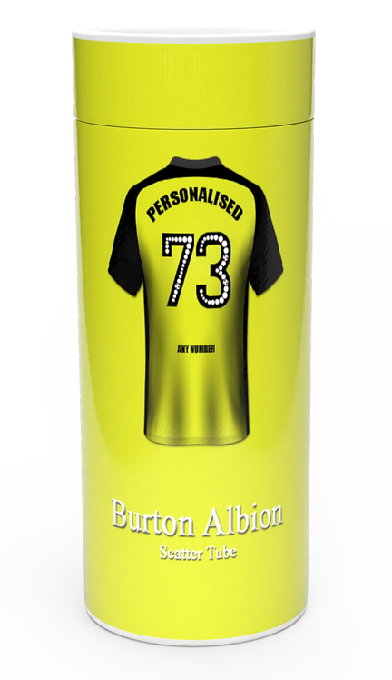 Personalised Custom Bespoke Ashes Scattering Tube Urn for Cremated Remains FOOTBALL TEAM COLOUR BURTON ALBION
