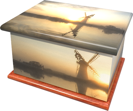 Personalised Custom Cremation Ashes Caskets and Keep-Sake Urns in a NORFOLK BROADS WINDMILL Landscape design