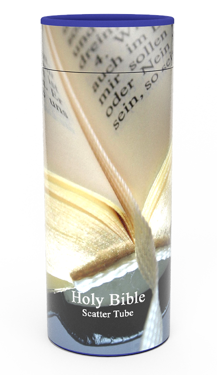 Personalised Custom Bespoke Ashes Scattering Tube Urn for Cremated Remains in a Religious Spiritual Faith BIBLE design