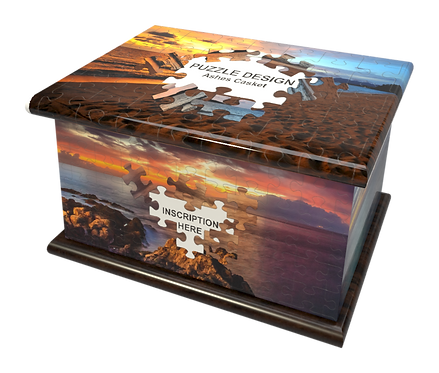 Personalised Custon Cremation Ashes Casket and Keep-Sake in JIGSAW PUZZLE design