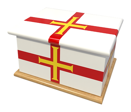 Personalised Custom Cremation Ashes Caskets COUNTRY AND BRITISH COUNTY FLAGS GUERNSEY CHANNEL ISLANDS