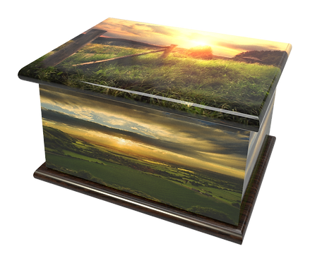 Personalised Custom Cremation Ashes Caskets and Keep-Sake Urns in a COUNTRYSIDE FIELD SUNSET Landscape design