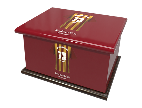 Personalised Ashes Caskets and Urns in Football Team Colours Bradford City