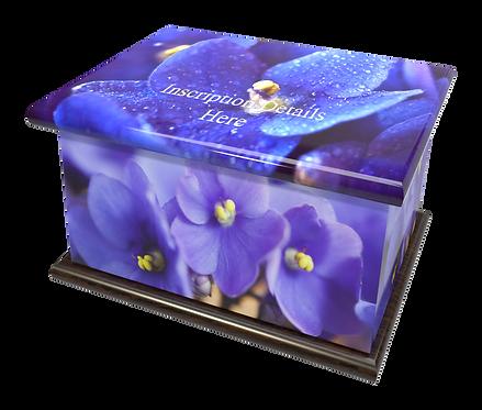 Custom Personalised Cremation Ashes Casket in FLORAL AFRICAN VIOLETSdesign