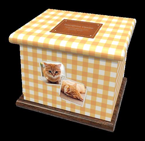 Custom Personalised PET Animal Cat Dog Ashes Casket Urn In Gingham Design